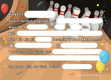 einladung bowling vorlage kostenlos geburstags