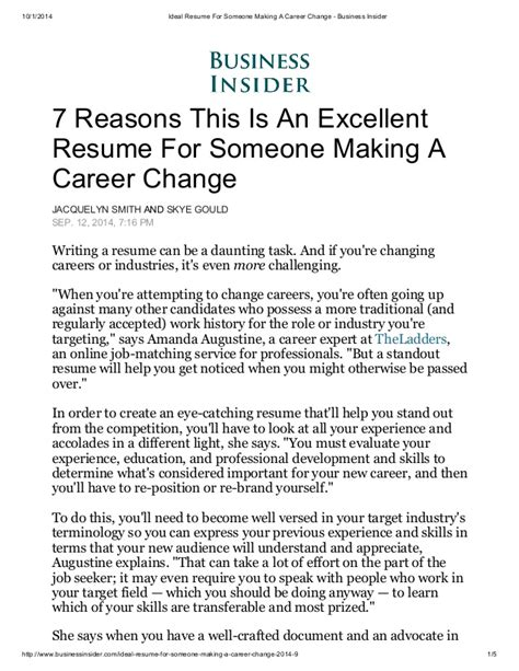 The Resume For Someone A Career Change by Ideal Resume For Someone A Career Change Business Insider