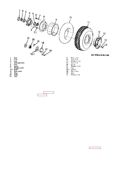 Figure 2-40. Steer wheel. rim tire and tube exploded view.