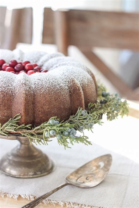 farmhouse christmas kitchen gingerbread bundt cake
