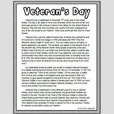 Veteran's Day (passage With Short Answer Comprehension Questions)  Comprehension Questions