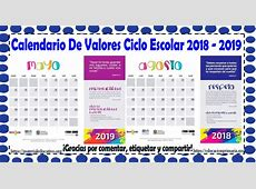 Calendario de valores para el ciclo escolar 2018 2019