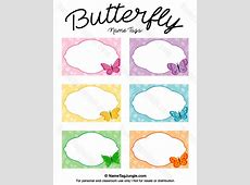 Printable Butterfly Name Tags