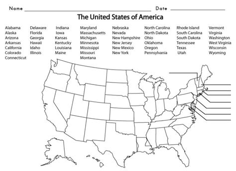 map us states and capitals list worksheets