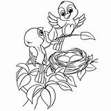 Nest Bird Coloring Cartoon Vector Drawing Printable Pages Egg Getcolorings Illustration Clipartmag sketch template