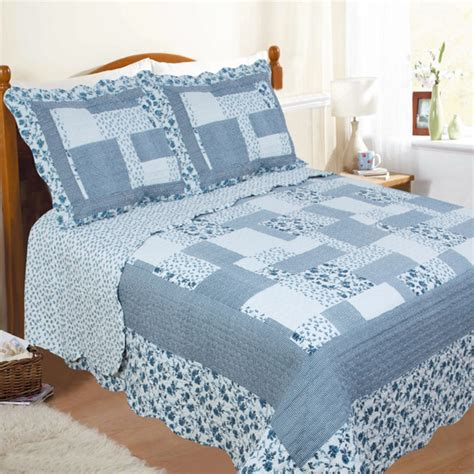 Blue Quilted Bedspread by Restmor Natalie Scalloped Floral Patchwork Quilted