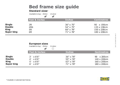 Ikea bed frame size guide
