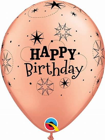 Gold Rose Birthday Happy Balloons Metallic Latex