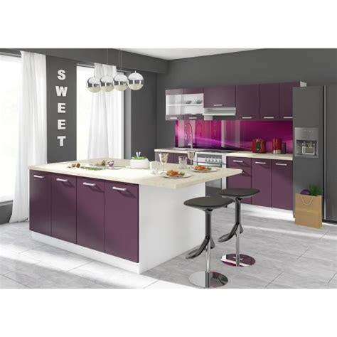 m cuisine ultra cuisine complète avec îlot 2 40 m coloris aubergine achat vente cuisine complète