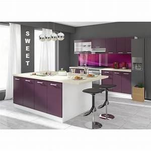 ultra ilot de cuisine l 2 m aubergine achat vente With meuble ilot central cuisine 1 petit ilot central de cuisine cuisine en image