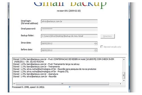 baixar de backup do google gmail/google mail