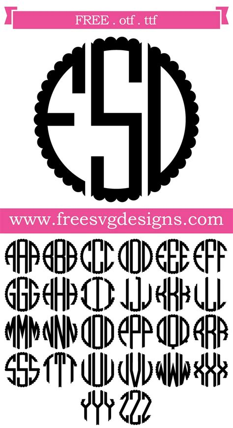 svg files svg png dxf eps scalloped monogram font