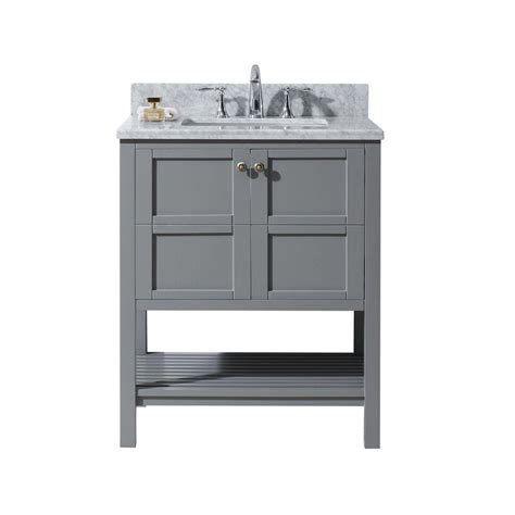 White Vanity With Gray Top by Virtu Usa Winterfell 30 In W X 22 In D Vanity In Grey