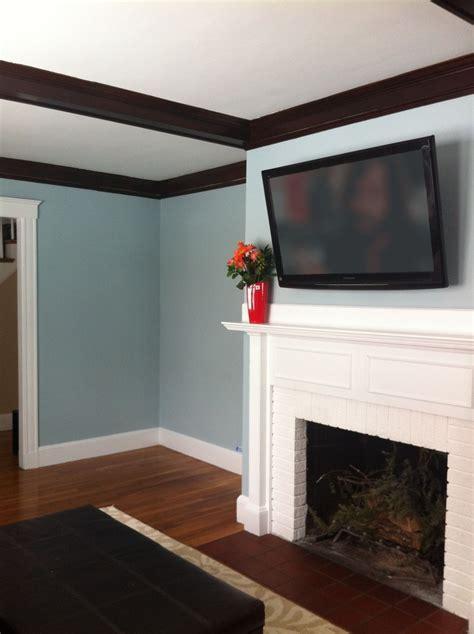 Living Room in Benjamin Moore Yarmouth Blue Paint   Living