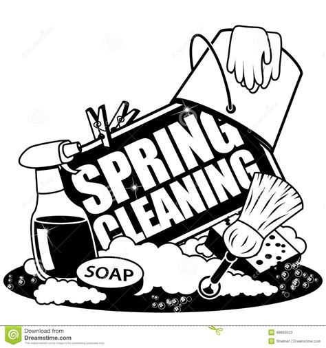 spring cleaning icon  black  white stock vector