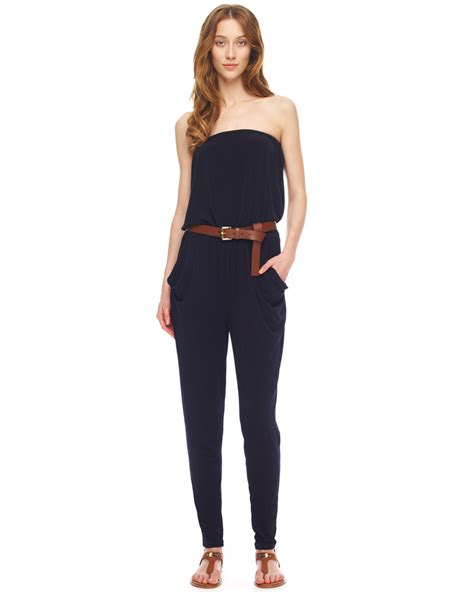 strapless jumpsuit michael kors strapless jersey jumpsuit in blue navy lyst