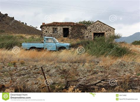 abandoned house   car  lesvos island greece