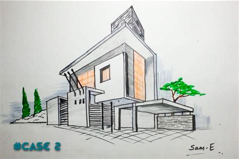 Haus Perspektivisch Zeichnen by 2 Point Perspective House Case2 Architectural Freehand