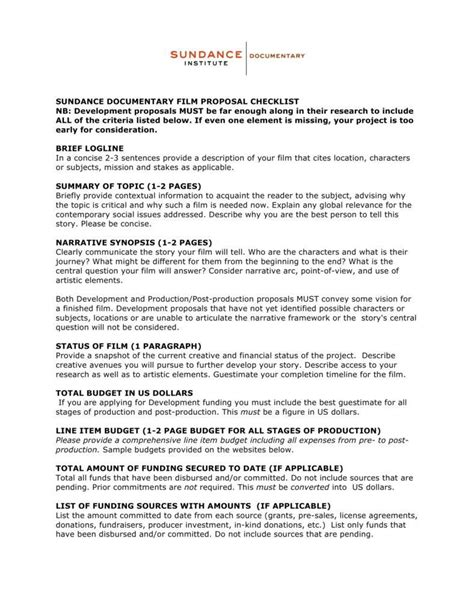 film proposal templates   project