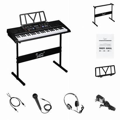 Piano Glarry Portable Stand Key Headphone Microphone