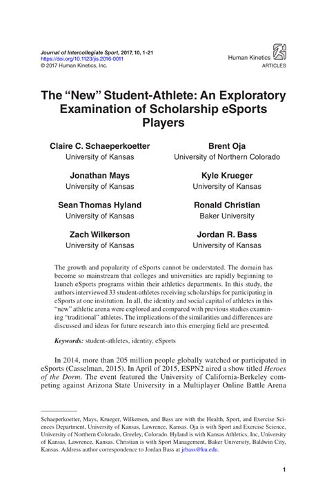 pdf the new student athlete an exploratory examination of scholarship esports players
