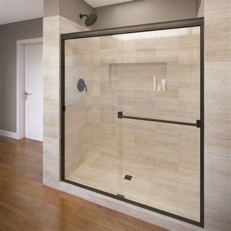 rubbed bronze kitchen faucets basco 60 in x 70 in semi frameless sliding