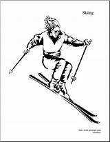 Skiing Downhill Coloring Winter Olympic Abcteach Sport Event sketch template
