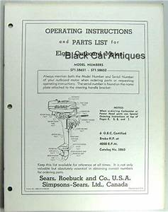 Elgin Outboard Owners Manual Parts List 6 Hp 571 58651