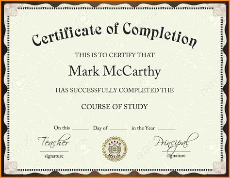 Certificate Of Completion Template Certificate Of Completion Template Free