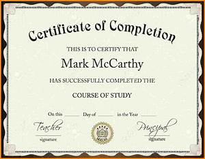 Certificate Of Completion Template Free Download
