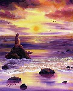 Mermaid In Purple Sunset Painting by Laura Iverson