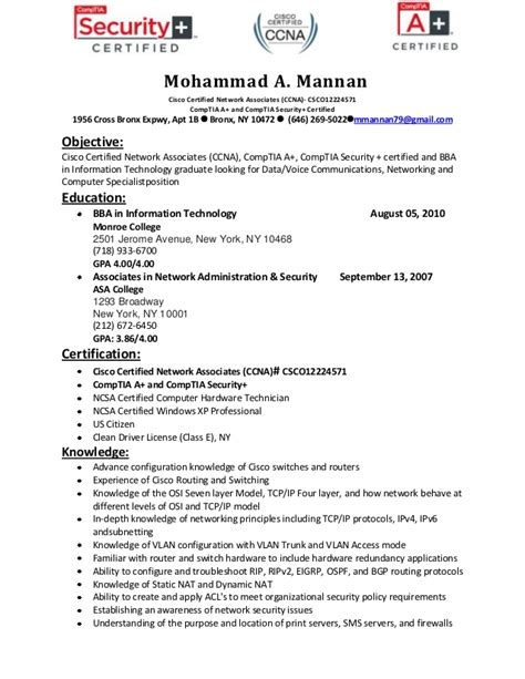 Ccie Resume Exles by Resume Of Mohammad Mannan