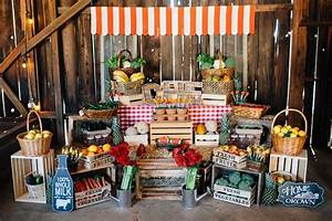 Kara's Party Ideas Farmer's Market Stand + Main Table from