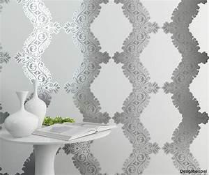 vliestapete barock weiss silber vertiko neo 6903 10 With balkon teppich mit tapete schwarz weiß bäume