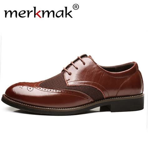 Merkmak Men Brogue Oxfords Mesh Breathable Casual Leather