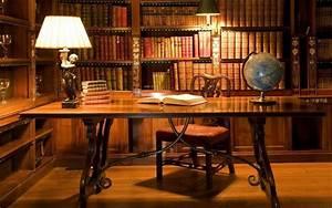 Books, Office, Lamp, Desk, Globe