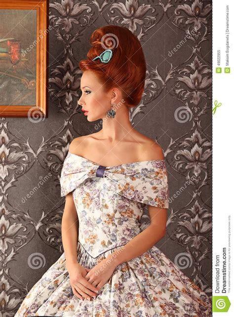 luxury young beautiful woman  vintage victorian dress