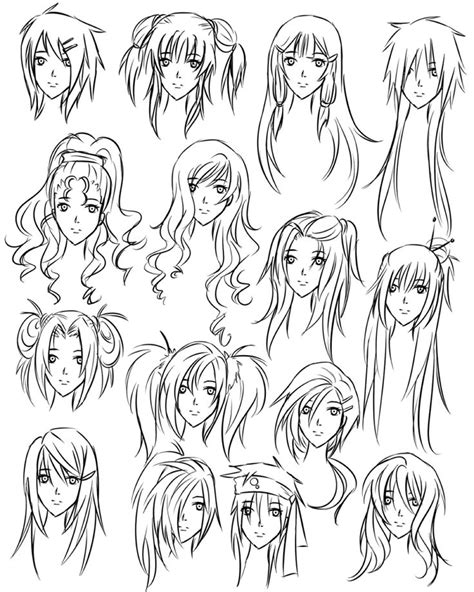 drawing girl hair styles   draw hairstyles