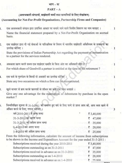 class  commerce model question papers