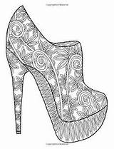 Coloring Pages Shoes Adult Books Shoe Printable Adults Colouring Sketches Pattern Drawings Drawing Dance sketch template