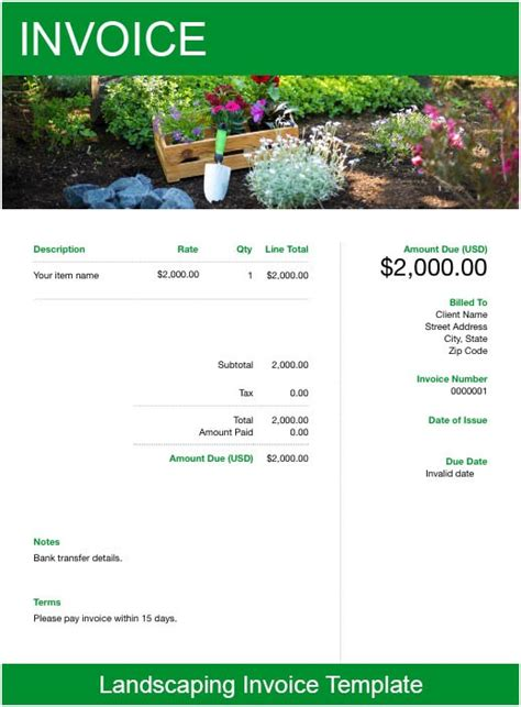 landscaping invoice template   send  minutes