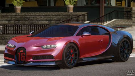 ▪ blacked out front grill with '16' logo (paintable with primary color) ▪ new engine (paintable with primary color) ▪ new course alloy wheel rims. Bugatti Chiron Sport Carbon para GTA 4