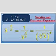 Negative And Fractional Exponents Assignment Help  Math Homework Help