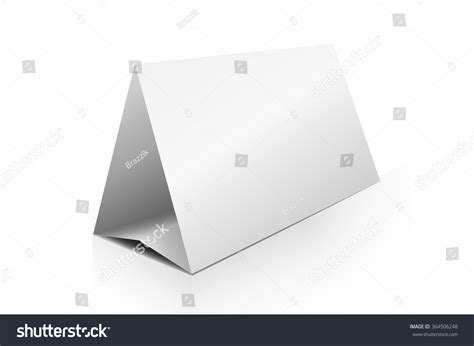 triangle tent card template blank paper horizontal triangle table ten stock vector