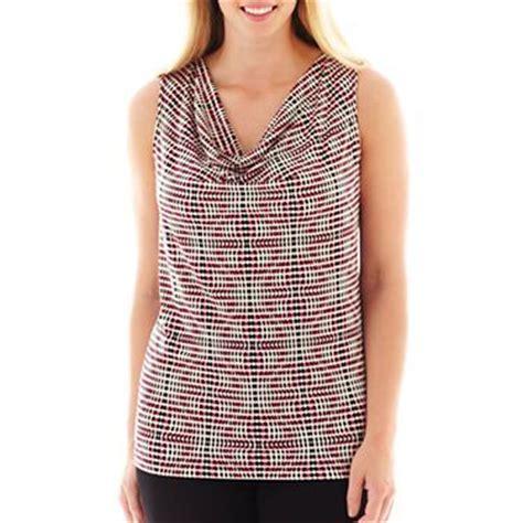 jcpenney plus size blouses liz claiborne sleeveless cowl neck top jcpenney a plus