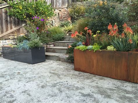 corten steel planters corten steel trough planter llc