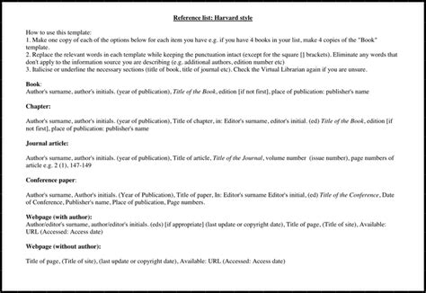 Reference List Sle by Reference List Harvard Style For Free Tidyform