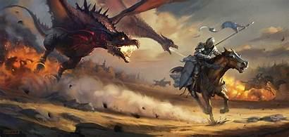Fantasy Horse Dragon Knight War Warrior Digital