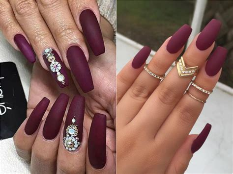 Perfect Burgundy Coffin Matte Nails Embellishment