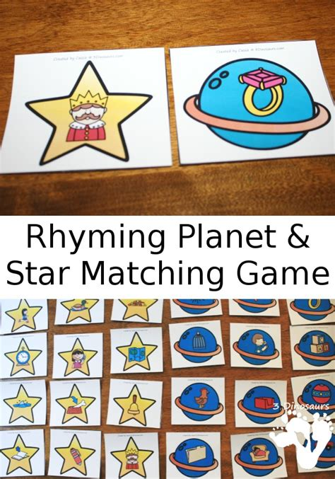 Easy To Play Rhyming Planet And Star Matching Game  3 Dinosaurs